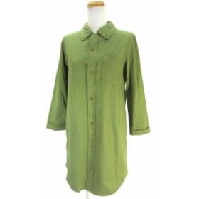 【中古】アーペーセー A.P.C. ボタンダウン シャツ ワンピース 長袖 ミドル 膝丈 無地 XS グリーン 緑 レディース