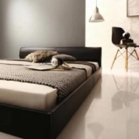 高級感のある モダンデザインレザーフロアベッド プレミアムボンネルコイルマットレス付き (対応寝具幅 ダブル)(対応寝具奥行 レギュラ