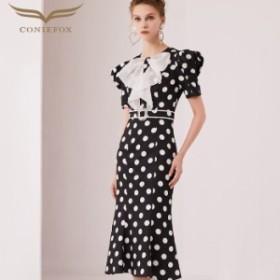 【CONIEFOX】高品質★ドット柄リボンラインストーン半袖付きマーメイドタイトラインミモレドレス♪ブラック 黒 ワンピース ミディアム
