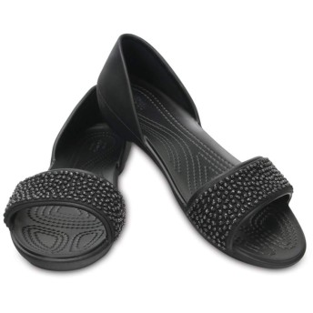 【クロックス公式】 クロックス リナ エンベリッシュド ドルセー ウィメン Women's Crocs Lina Embellished D'Orsay Flat ウィメンズ、レディース、女性用 ブラック/黒 21cm,22cm,23cm,24cm,25cm,26cm flat フラットシューズ バレエシューズ ぺたんこシューズ 40%OFF