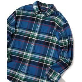 シップス SERO×SHIPS JET BLUE: 別注 ボタンダウン ネルチェックシャツ メンズ ブルー LARGE 【SHIPS】