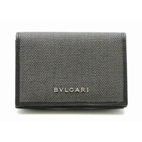 BVLGARI ブルガリ ウィークエンド カードケース 名刺入れ パスケース 定期入れ PVC レザー ダークグレー 黒 ブラック 32588 (k)