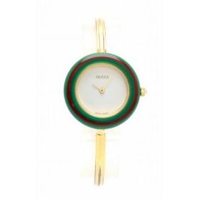 (ウォッチ)GUCCI グッチ チェンジベゼル ホワイト文字盤 GP レディース QZ クォーツ 腕時計 11/12.2 (k)