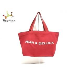 ディーンアンドデルーカ DEAN&DELUCA トートバッグ レッド×アイボリー キャンバス  値下げ 20190919