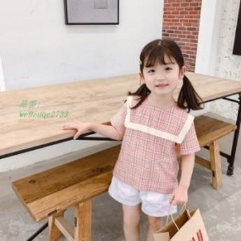 ガールズチェックのワイシャツ夏に新しい半袖の子供服 子ども服夏に韓国子供服 通学着 通園着 フォーマル