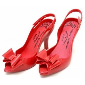(靴)Vivienne Westwood ヴィヴィアン ウエストウッド melissa メリッサ リボン パンプス ヒール ラバー 赤 レッド USA8 EUR39 BRA37 24.5cm(u)