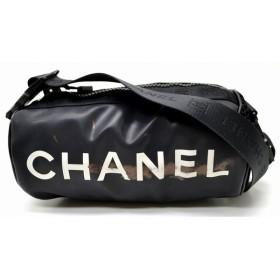 (バッグ)CHANEL シャネル スポーツライン ショルダーバッグ 肩掛け ナイロン ビニール 黒 ブラック 白 ホワイト(u)