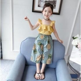 新品 可愛い 2点セット 子供服 トップス+パンツ キッズ ジュニア 女の子 セットアップ 120-160 上下セット こども 女児 夏