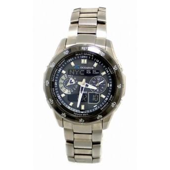 (ウォッチ)CASIO カシオ OCEANUS オシアナス デイト ソーラー 電波時計 ブラック文字盤 タフムーブメント メンズ 腕時計 OCW-T400TB-1AJF (u)