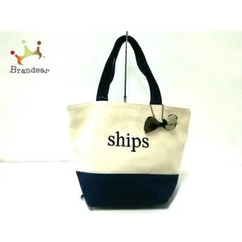 シップス SHIPS トートバッグ アイボリー×ネイビー ミニサイズ キャンバス 新着 20190629