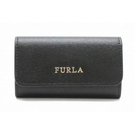 FURLA フルラ バビロン ロゴ キーケース 6連 レザー ブラック 黒 ゴールド金具 961087 (k)