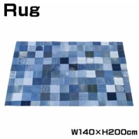 ラグ 絨毯 ラグ マット 柄物 長方形 200×140cm デニム パッチワーク カーペット WE-130