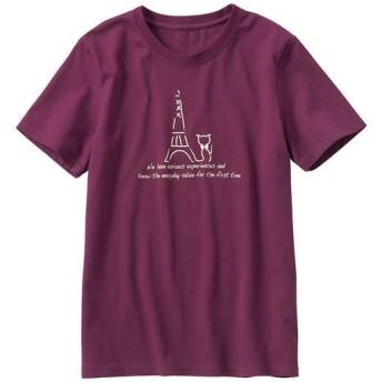 【レディース】 プリントTシャツ(S-5L・綿100%・半袖) ■カラー:ワイン ■サイズ:S