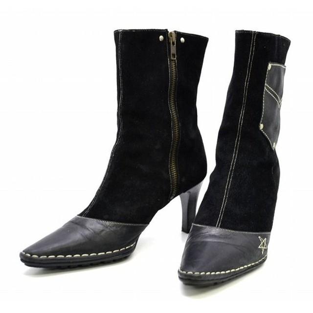 (靴)CASTELBAJAC カステルバジャック スエード ショートブーツ ハーフブーツ ピンヒール ステッチデザイン 黒 ブラック サイズ#24(u)