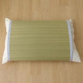 枕パッド 国産い草使用 『無地 枕パッド かため』 ストライプブルー 約40×53cm 3659629