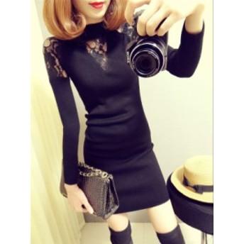 レディース ニット セーター ワンピース 肩 ラウンドネック シースルーレースが可愛い 韓国 ファッション 大人女子 アガる黒 透ける黒