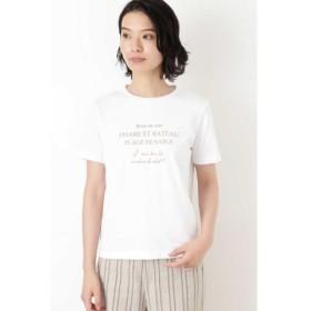 (HUMAN WOMAN/ヒューマンウーマン)ロゴプリントTシャツ/レディース シロ×キャメル