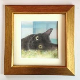 黒猫(パステル画 原画) 額装込み