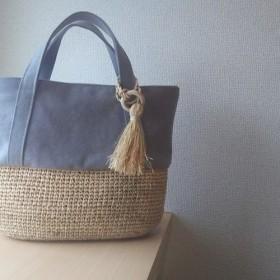 『夏の袋2019』マダガスカル産ラフィアとヴィンテージ帆布のデイリートート( gray )
