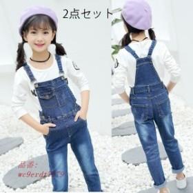 韓国子供服 2点セット 上下セット女の子オーバーオール パンツ デニム ダメージ サロペット デニム パンツ ロングパンツ パンツ ジーンズ
