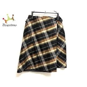 ケイタマルヤマ 巻きスカート サイズ1 S レディース 美品 黒×ブラウン×ベージュ チェック柄   スペシャル特価 20191002