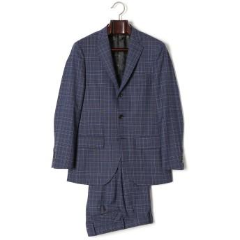 【60%OFF】イタリア生地 チェック柄 ノッチドラペル スーツ ネイビー 48