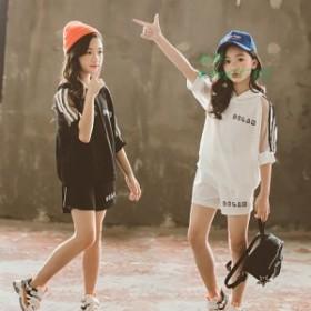 夏着 セットアップ 子供服 トップス カジュアルパンツ Tシャツ+パンツ 可愛いスタイル 子供服 サルエル シンプル パンツ 上下 女の子 2