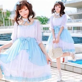 レディースロリータ衣装 可愛いワンピース 二次元衣装 lolita シフォンドレス  コスプレ衣装 リボン普段着 髪飾り首飾り付き 二