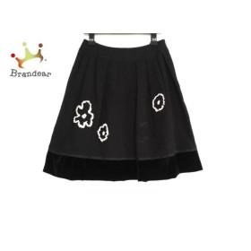 トゥービーシック スカート サイズ42 L レディース 黒×アイボリー 刺繍/ビーズ/フラワー 新着 20190629