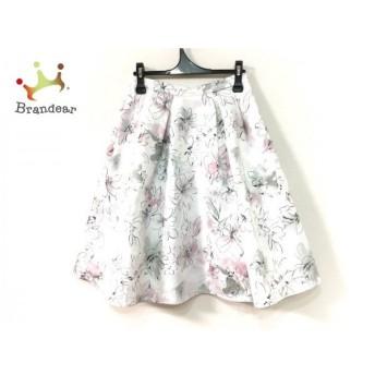 ジャスグリッティー JUSGLITTY スカート サイズ2 M レディース 美品 白×黒×マルチ 花柄 新着 20190629