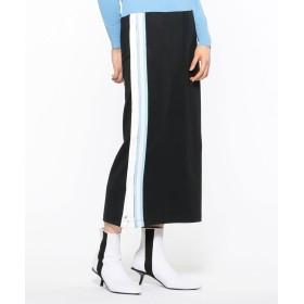 【オンワード】 CK CALVIN KLEIN WOMEN(CK カルバン・クライン ウィメン) 【2019SS インポート企画】ナイロンコットンテリー サイドラインスカート ブラック M レディース 【送料無料】