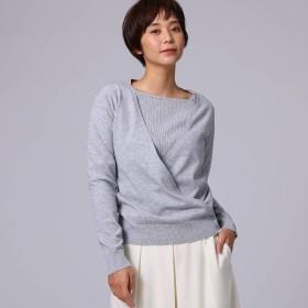 アンタイトル UNTITLED 【洗える】ニット+カシュクールカーディガンセット (グレー)
