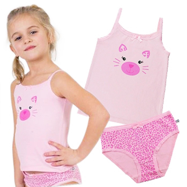 美國 ZOOCCHINI - 可愛動物女孩內衣褲套組-粉紅貓咪