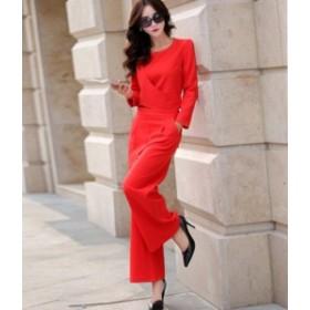 パンツドレス セットアップ オールインワン レディース 大きいサイズ ロング 袖あり パーティー 2點セット