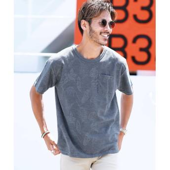 ジギーズショップ ループジャガードTシャツ / Tシャツ メンズ ティーシャツ 半袖 クルーネック メンズ ネイビー M 【JIGGYS SHOP】