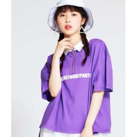 WEGO WEGO/ハーフジップロゴTシャツ(パープル)【返品不可商品】