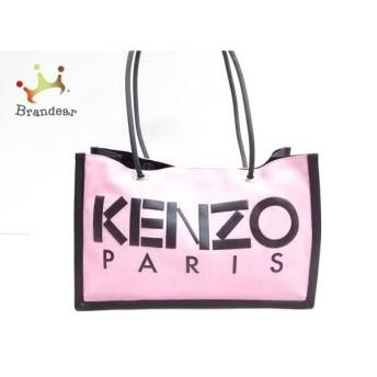 ケンゾー KENZO トートバッグ 美品 ピンク×黒 キャンバス×レザー×化学繊維 スペシャル特価 20190815
