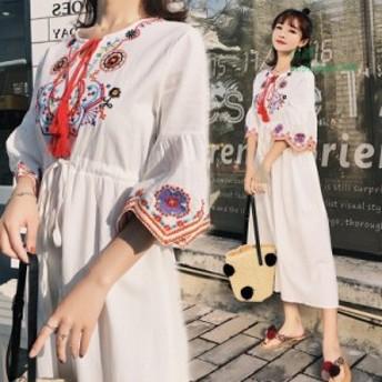 マキシワンピース レディース 夏 リネンワンピース 40代 カジュアル きれいめ 刺繍 ロング丈 ロングワンピース 上品