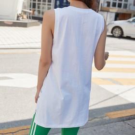 Tシャツ - VIVID LADY ノースリーブ tシャツ 黒 レディス 夏 ノースリーブ レディース アシンメトリー tシャツ トップス レディース夏きれいめカットソー ロゴ入り ノースリーブtシャツ