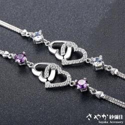 【Sayaka紗彌佳】墜入情網鑲鑽銀手鍊