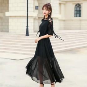 シフォン ワンピース ドレス レディース 編み上げ 女子會 結婚式 お呼ばれ ロング パーティードレス 袖あり