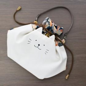 ネコぱんお出かけ3way巾着バッグ 和風 と花 紺 秋色