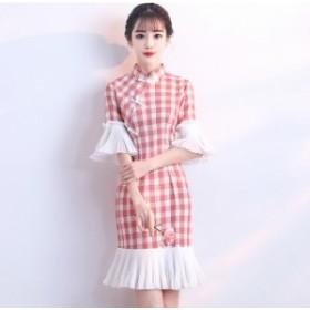チャイナ ギンガムチェック ドレス ワンピース レディース 大きいサイズ ミニ 袖あり ハイウエスト セクシー