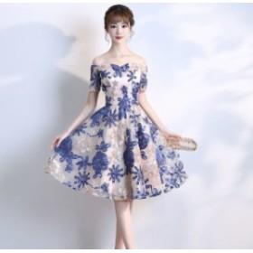 花 刺繍 オフショルダー パーティー ドレス レディース 大きいサイズ ミニ 袖あり 総レース 結婚式 二次會
