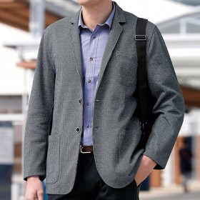 ベルーナ 楽に着られるチドリ柄カットジャケット カーキ 3L メンズ