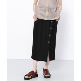 (SENSE OF PLACE/センスオブプレイス)ボタンディテールタイトスカート/レディース BLACK