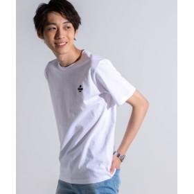 (WEGO/ウィゴー)WEGO/マスタッシュワンポイント刺繍Tシャツ/メンズ ホワイト