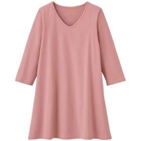 30%OFF【レディース大きいサイズ】 VネックTシャツ(7分袖)(綿100%)(L-10L) ■カラー:スモークピンク ■サイズ:9L-10L