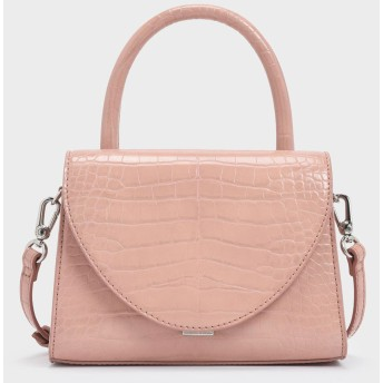 クロックエフェクトストラクチャー トップハンドル / Croc-Effect Structured Top Handle Bag (Pink