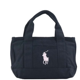 ポロラルフローレン POLO RALPH LAUREN MEDIUM TOTE (NAVY CANVAS W/LT PINK PP)